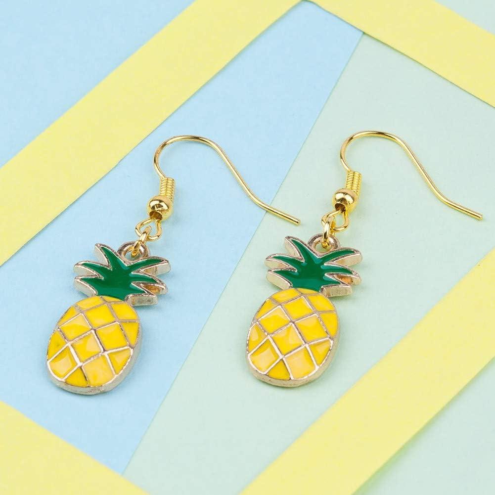 GUOZHENG Caja Pendientes Color Dorado Piña/Ananas Fruta Esmalte Amarillo Y Verde 43Mm X 12Mm,
