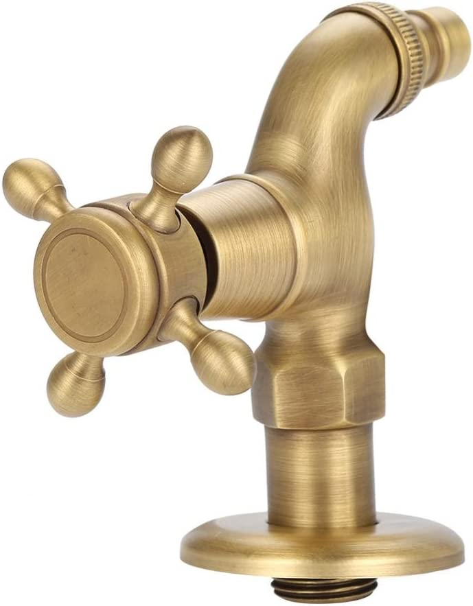 Garosa Washing Machine Water Tap European Classic Vintage Antique Oil Rubbed Brass Water Tap Single Cross Handle Wall Mounted Luxury Cold/hot Water Control Faucet Adapter(Short Water Faucet)