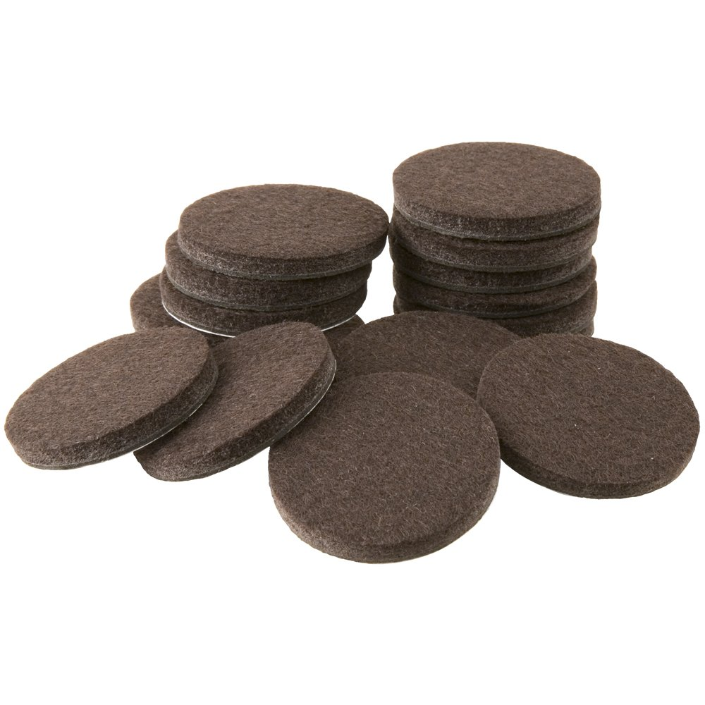 "Self-Stick Furniture Round Felt Pads for Hard Surfaces – Protect your Hard Floors from Furniture Scratches, 1"" Walnut Brown, Round (16 Pieces)"