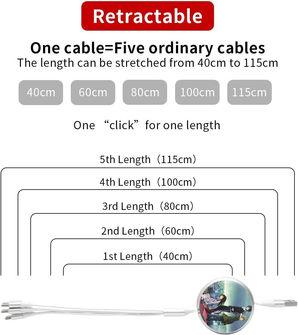 Anime Overlord Ainz Ooal Gown 3 in 1 Retractable Multi Charging Cable 3.0a Fast Charger Cord with Phone//Type C//Micro USB Charge Port Adapter Compatible with Cell Phones Tablets and More