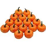 Yofit 16 Pcs Artificial Fruit Fake Mini Pumpkins for Halloween House Party Decoration (Orange)