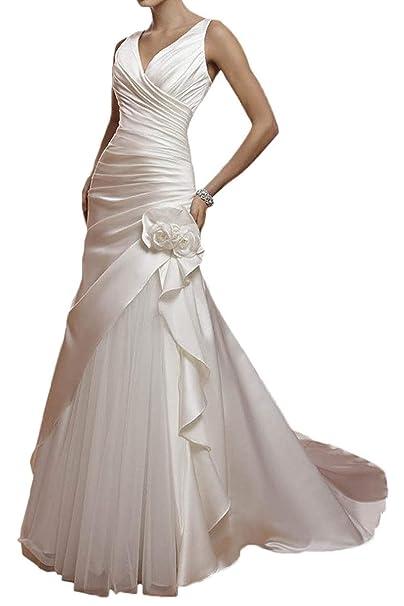 JAEDEN Vestido de Boda Vintage Vestidos de Novia Mujeres Largo Vestidos para la Novia A línea Tul V-Cuello: Amazon.es: Ropa y accesorios
