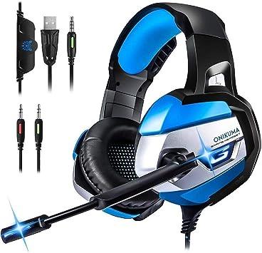 LinStar Cascos Gaming, K5 Auriculares Estéreo DE 3,5 mm con Control de Volumen de Micrófono para Xbox One, Nuevo Ordenador Portátil Mac Playstation 4 (Azul): Amazon.es: Electrónica
