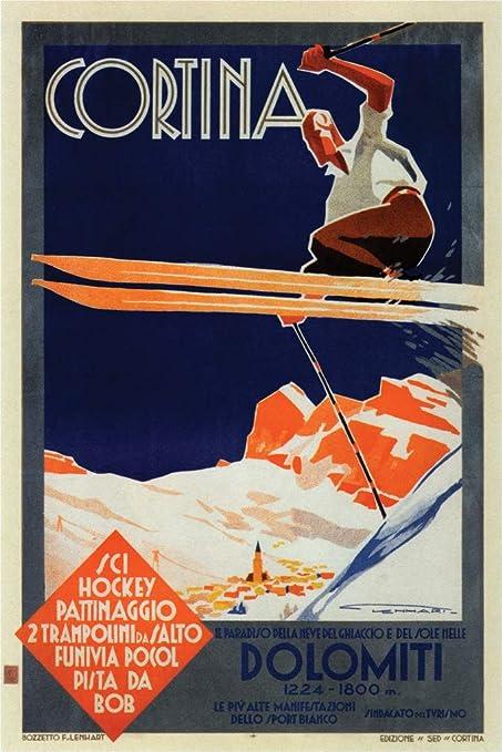 Amazon com: Cortina Dolomiti Superski Skiing Italy Vintage