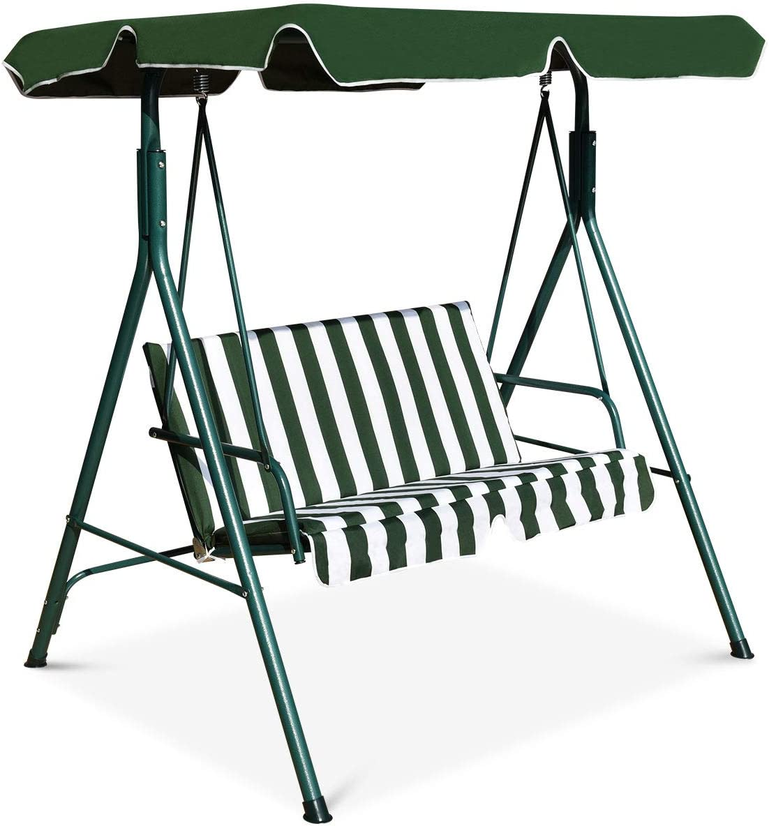 HAPPYGRILL 2-Person Convertible Canopy Swing Chair, Hammock Swing with Comfortable Cushion Seats, Weather Resistant Power Coated Steel Frame