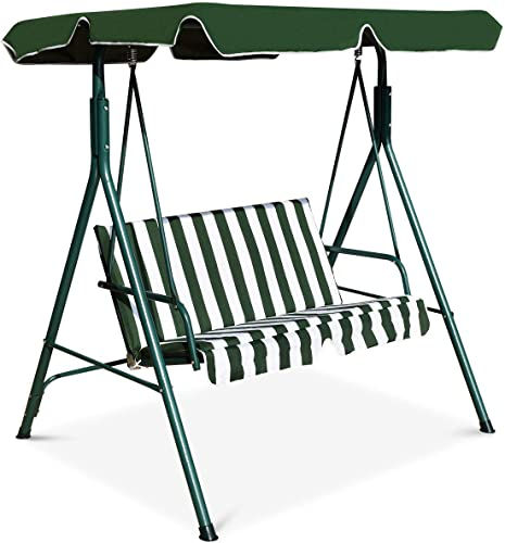 HAPPYGRILL 2-Person Convertible Canopy Swing Chair