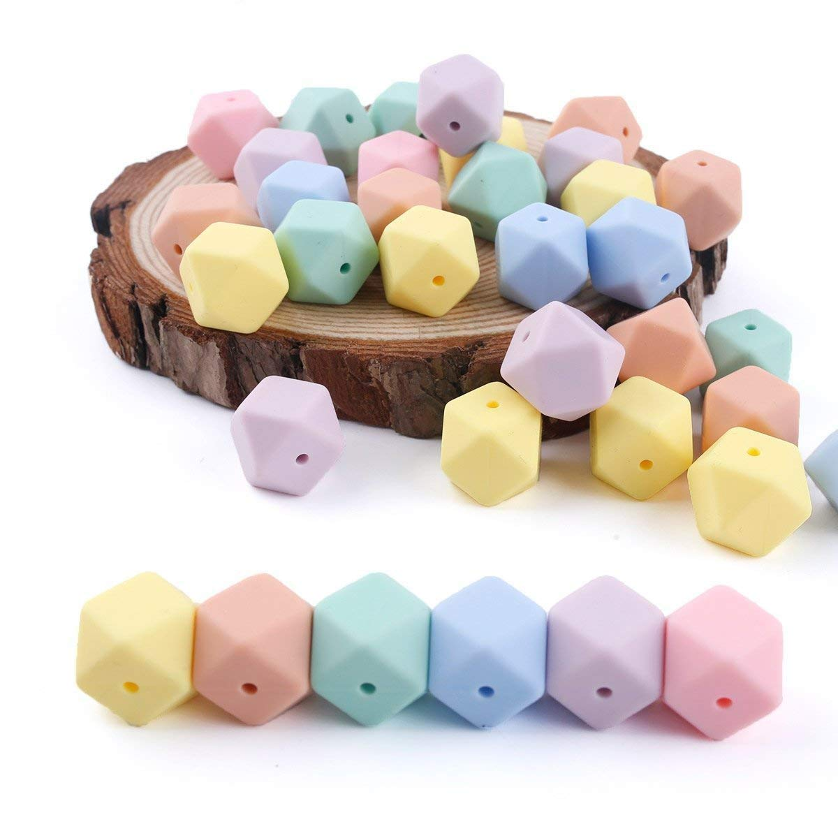 DIY Necklace/ Bracelet Bbaby Teething Silicone Beads DIY Beads for Teether Mix Color 50pcs 17mm(0.67in) Hexagon Chewy Beads HAO JIE J-E218