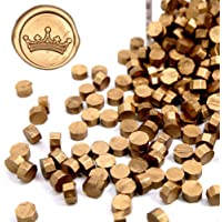 UNIQOOO Arts & Crafts 180 Pcs Metallic Antique Gold Bottle Sealing Wax Beads Nuggets for Wax Seal Stamp, Great for…