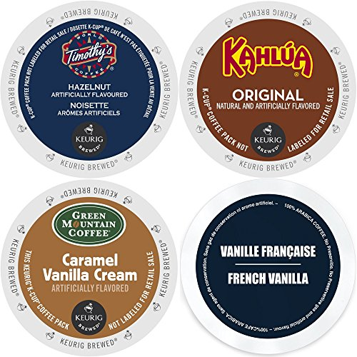 K-Cup Flavored Coffee Variety Pack, 96 Count Flavored Keurig 2.0 K Cup Sampler featuring Kahlua, Faro French Vanilla, Green Mountain Caramel Vanilla Cream, and Timothy's Hazelnut, for Keurig Brewers