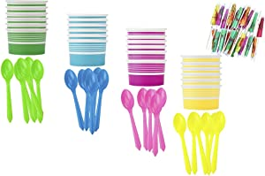 Ice Cream Sundae Kit - Yellow Blue Pink Green - Paper Dessert Cups - Plastic Spoons - Paper Umbrellas - Birthday Party Goods - 24 Each