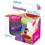 Sistema To Go Collection Dressing Food Storage Containers, 1.1 Ounce, Assorted Colors, Set of 4