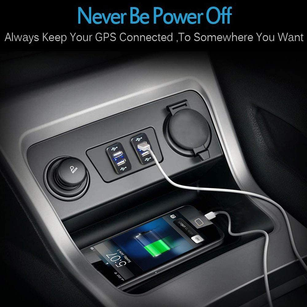 MNJ Motor Dual Car USB Power Socket for Smart Phone PDA iPad iPhone 2 Port Charger Replacement for Toyota 2.1A Quick Charge