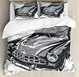 Cars King Size Duvet Cover Set by Ambesonne, Hand Drawn Vintage Vehicle with Detailed Front Part Hood Lamps Rear View Mirror, Decorative 3 Piece Bedding Set with 2 Pillow Shams, Grey Blue Grey