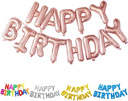 Mehrfarbig Ponmoo Happy Birthday Ballon Mehrfarbig Schwarz Happy Birthday Luftballons Ros/égold Geburtstag Folienballon Happy Birthday Silber Folienluftballons Dekoration Birthday Party