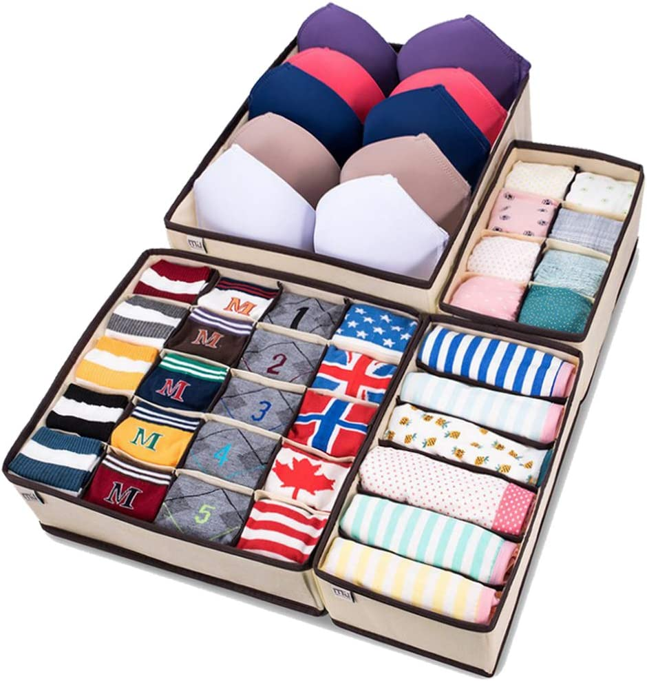 3 x Foldable Underwear Bra Fabric Socks Box Storage Organizer Drawer Dividers UK