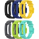 EEweca 6-Pack Bands Compatible with Fitbit Ace 2 Replacement Strap for Kids (Black, Night Sky, Neon Yellow, Gray, Green…