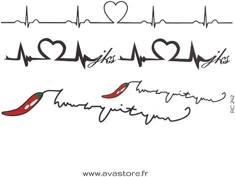 Tatuajes temporales ritmo cardiaco & Vida piquante - Tatuaje ritmo ...