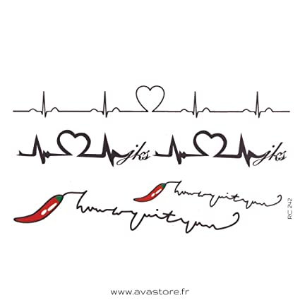 Tatuajes Temporales Ritmo Cardiaco Vida Piquante Tatuaje Ritmo