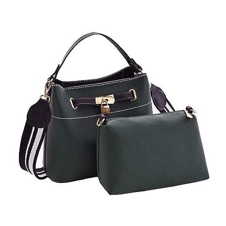 DEERWORD Mujer Shoppers y bolsos de hombro Bolsos bandolera Carteras de mano y clutches Verde Negruzco