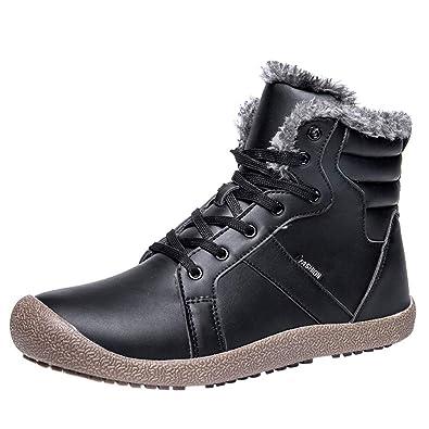 76c7f2ffb808f Amazon.com | Mysky Couple Women's Warm Leather Running Sneakers ...