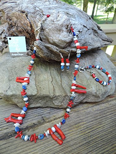 (Red Coral, Lapis & Pearl Necklace, Bracelet & Earrings)