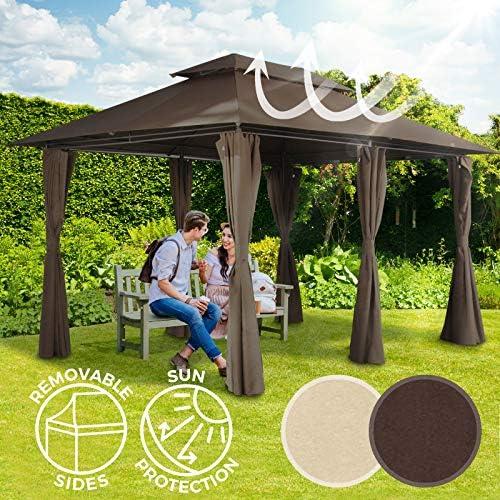 Carpa de Jardín | 3 x 4 m, con Cortinas y Techo Doble, Estructura ...