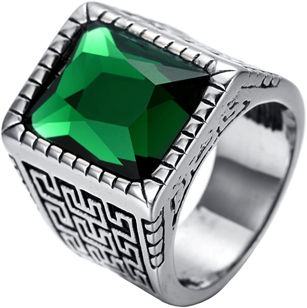 PAURO Hombres Acero Inoxidable De La Vendimia Gran Muralla Cuadrados Cuadrados Anillo Diamantes Azul/Verde/Piedra Roja