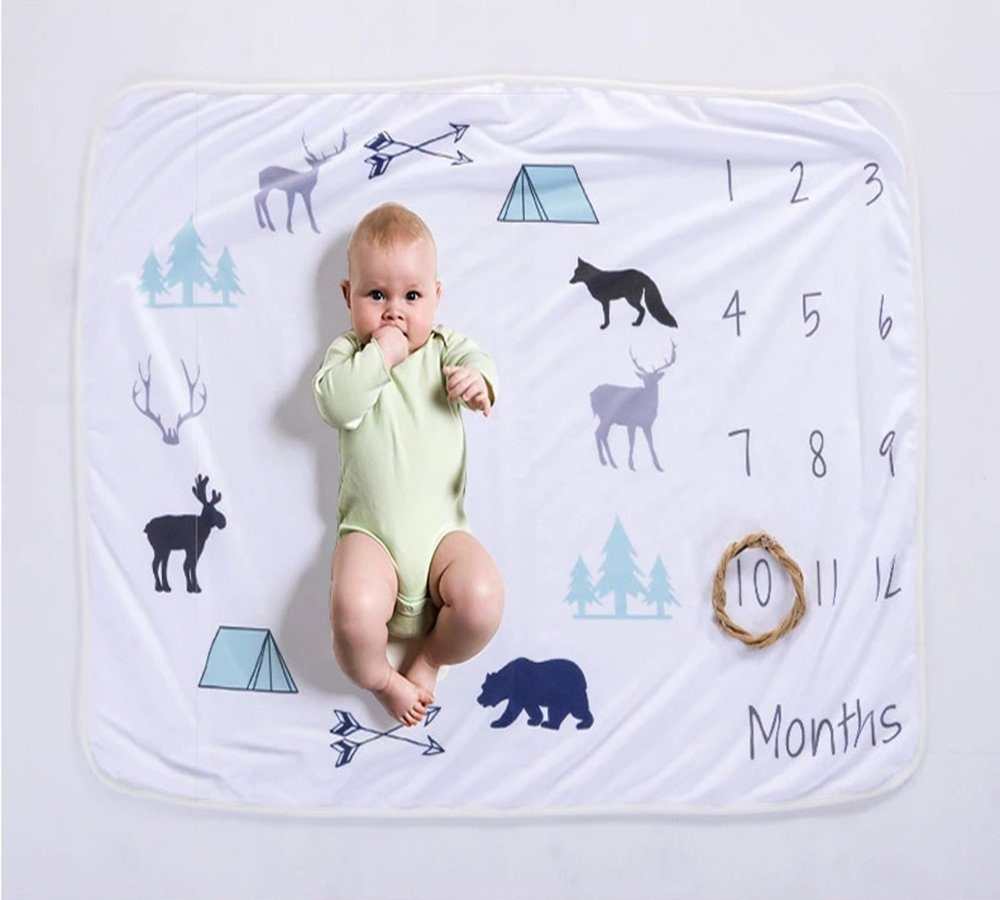 Zippersell Baby Monthly Milestone Age Blanket,Baby Shower Gift Idea,Polar Fleece Newborn Photography Background Photo Prop for 0-12 Months Growing Infants & Toddler (Animals Cycle) by Zippersell