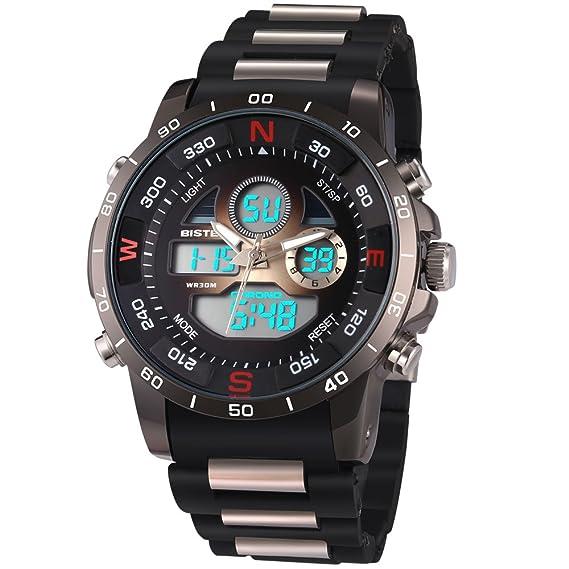 Bistec Hombre Relojes impermeable militar reloj de pulsera Sport de relojes de lujo reloj digital LED de luz Dual de pantalla negra con banda de silicona: ...
