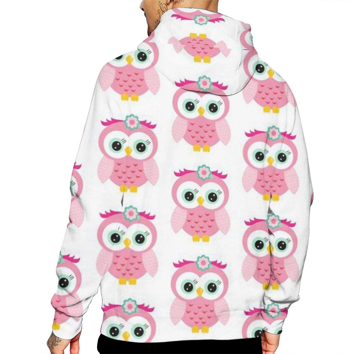 Pink Owl T-Shirt Hooded with A Pocket Rope Hat Customization Fashion Novelty 3D Mens