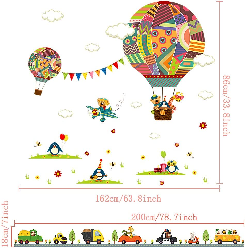 MOOKLIN ROAM 2 Sheets Wall Stickers for Children Hot-Air Balloon Wall Stickers car Removable Wall Murals Home Decorations for Living Room Bedroom 30 x 90cm