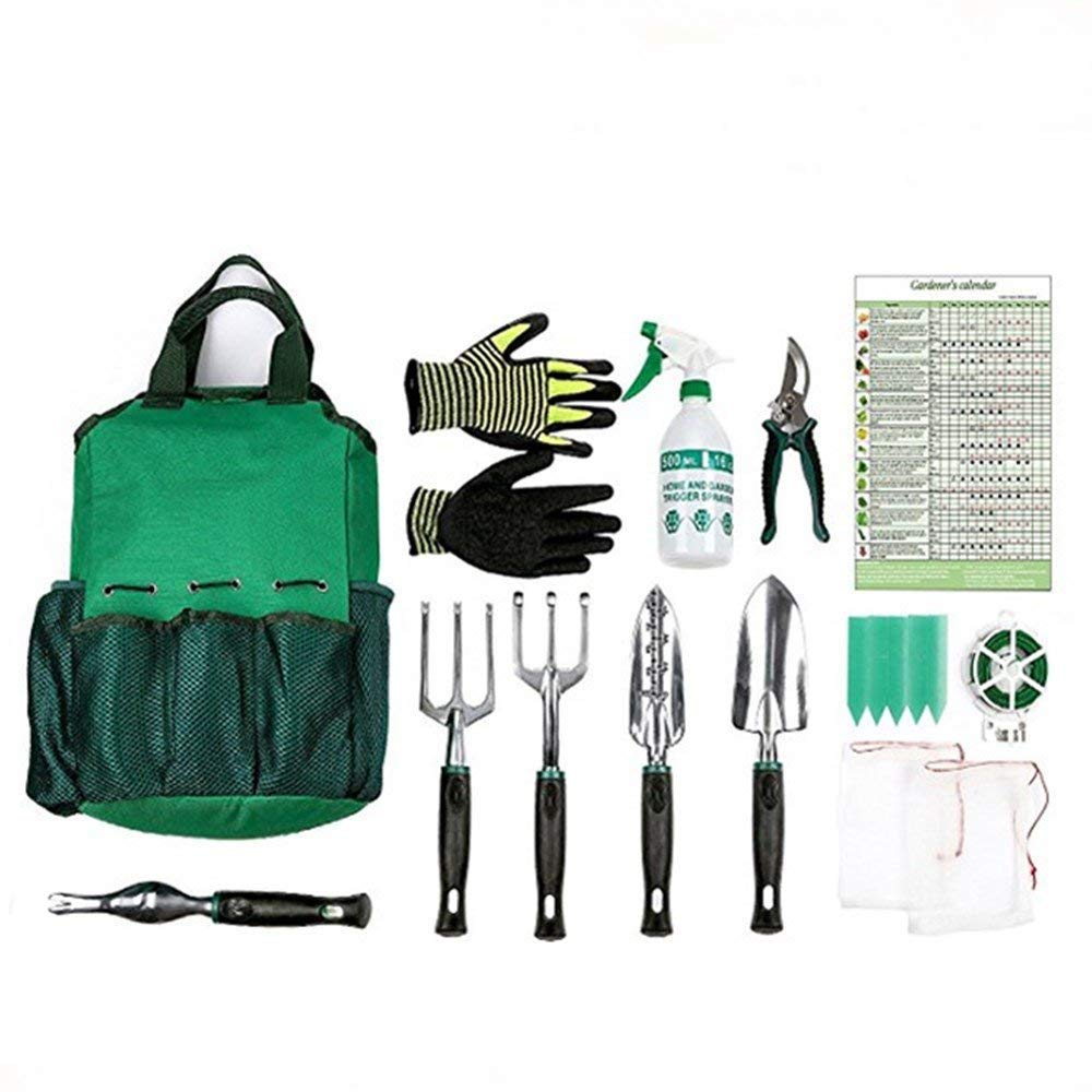 Gardening Tools Set,Garden Hand Tools,Gardening gifts,13 Piece Garden Kit Includes 6 Hand Tools ,Durable Storage Bag, Sprayer Bottle,Garden Gloves ,Seeds Bag,Plant Labels,Garden Tie By Ayuboom Ayuboom-garden
