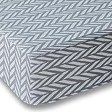 Blue Gray Herringbone Crib Sheet for Boys and Girls - Double Brushed Ultra Microfiber Luxury Crib Sheet Set By Where The Polka Dots Roam. Fits a Standard 52 mattress