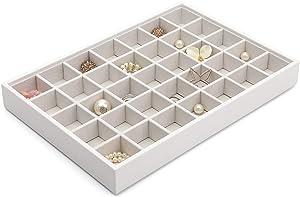 Vlando Miller Jewelry Tray 35 Grid Jewelry Tray Stackable Showcase Display Drawer Organizer Storage(White)