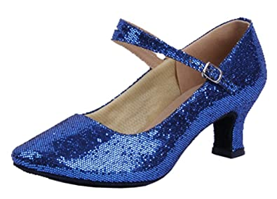 Honeystore Women's Soft Ground Mary Jane Glitter Dance Shoes Blue 5 B(M) US