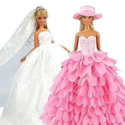 official photos bdf61 643c0 Miunana 2 Vestiti per Barbie Dolls Ed Altre Bambola = Sera Party  Principessa Abbigliamento Abito da Sposa Lungo Senza Spallini con Corona E  Velo + ...