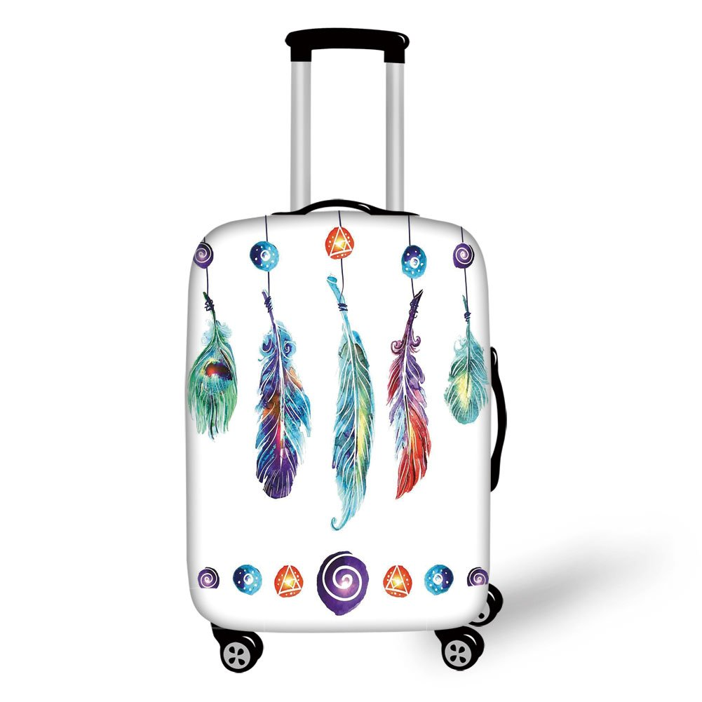 Travel Luggage Cover Suitcase Protector,Boho Decor,Several Tribal Feather Collection in Psychedelic Hippie Universe Cosmos Harmony Forms,Multi,for Travel
