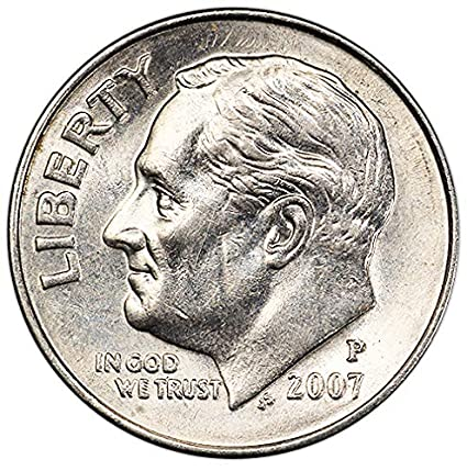2007 P and D 2 Coin Roosevelt Dime Set In Lightly Circulated Condition