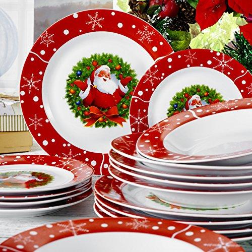 18 Piece Porcelain Dinnerware Set Stoneware Christmas