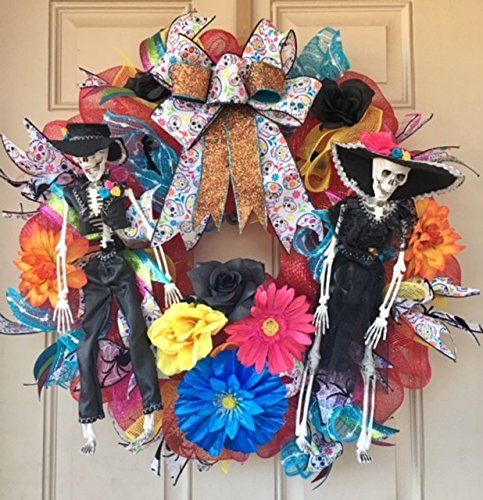 Day of the Dead Wreath with Dressed Up Man and Woman Skeletons, Colorful Flowers, Unique Sugar Skulls Ribbons/Bow--Dia de Los Muertos