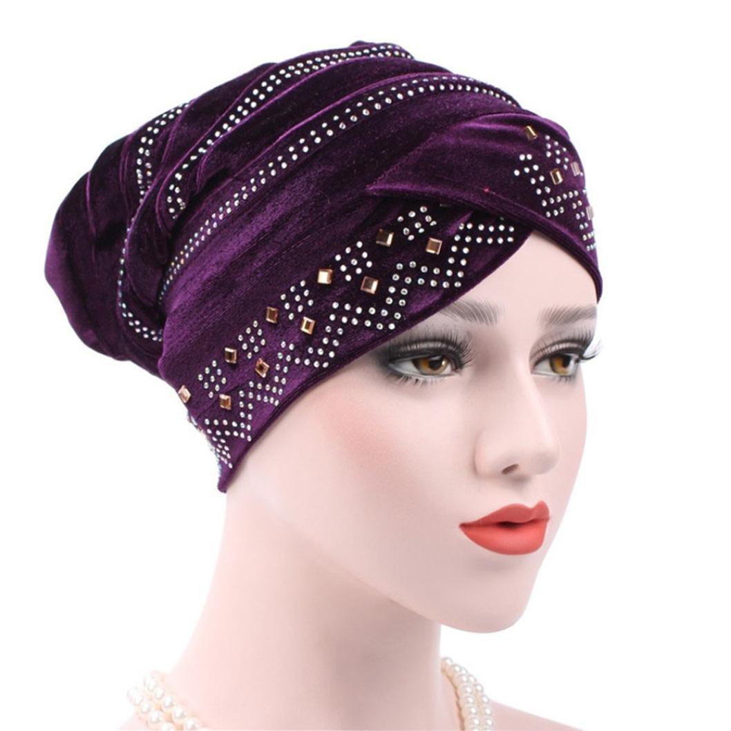 Fabal Muslim Headscarf Women Soft Comfortable Inner Hijab Caps Islamic Underscarf Hats Hot (Purple)