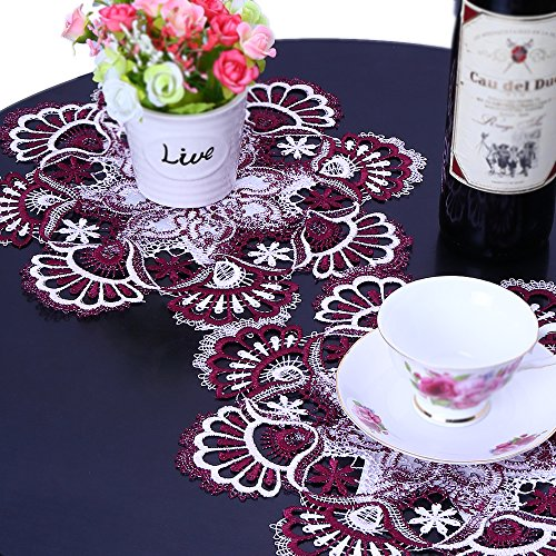 Mauve Elegance Round Tablecloth - FASHSEX Mauve Rose Lace European Set of Two 12 Inch Delicate Doilies Pink Scarf,Best Coasters