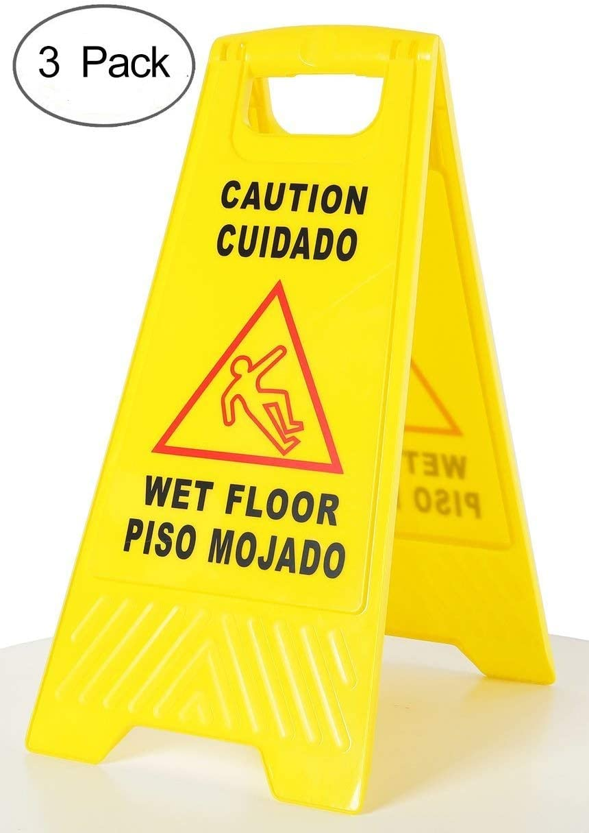 Amenities Depot (Pack of 3) 2-Sided Fold-Out Floor Safety Sign with Caution Wet Floor Warning Sign(SP-17A) 61zE5enkOGL