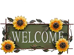 E-view Sunflower Welcome Sign Decorative Vintage Metal Wall Hanging Home Garden Decor - Welcome Plaque for Front Door, Garden Themed