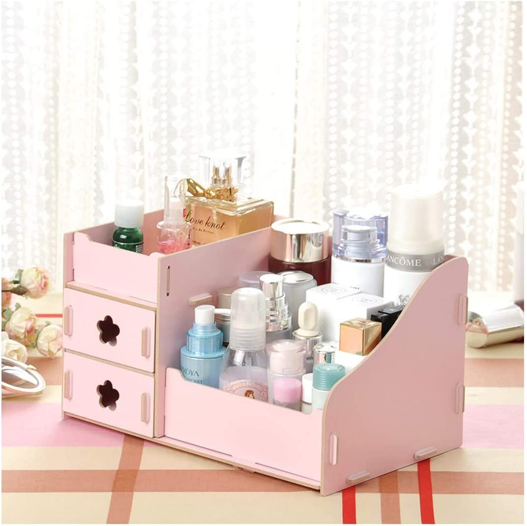 Amazon Com Makeup Organizer Wooden Orage Box Jewelry Container Case Handmade Diy Assembly Cosmetic Organizer Wood Box Pink Home Improvement