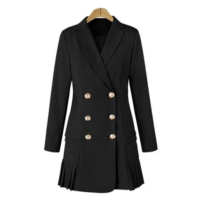 Black Robin Santiago Winter Coat Ol Double Breasted Long Suit Coat Plus Size
