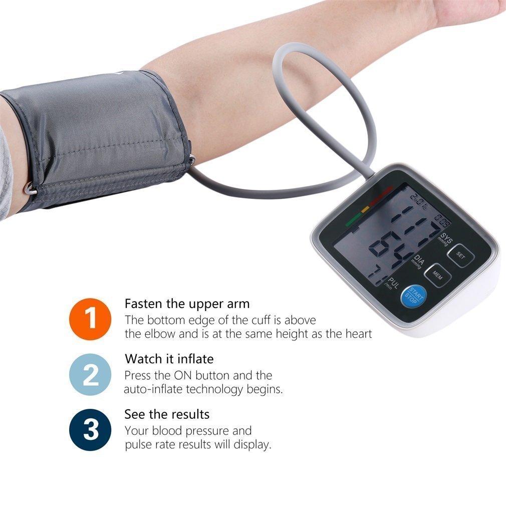 Tensiómetro de Brazo Digital con Detección del Pulso Arrítmico, Lectura Fácil Función de Memoria con Tamaño Estándar Manguito 22-32cm,Gris: Amazon.es: ...