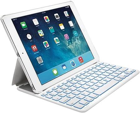 Kensington K97392ES - Funda con Teclado Español Retroiluminado para Apple iPad Air 2, Blanco