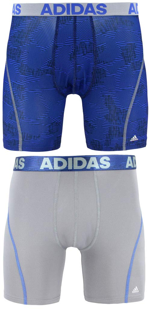 adidas Men's Sport Performance Climacool Boxer Briefs Underwear (2-Pack), alloy camo/bold blue/grey, Small