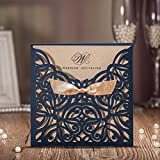 Wishamde CW6179B Navy Blue Laser cutting Cardboard with Gold Ribbon Wedding party invitation card, Customize Free (100)